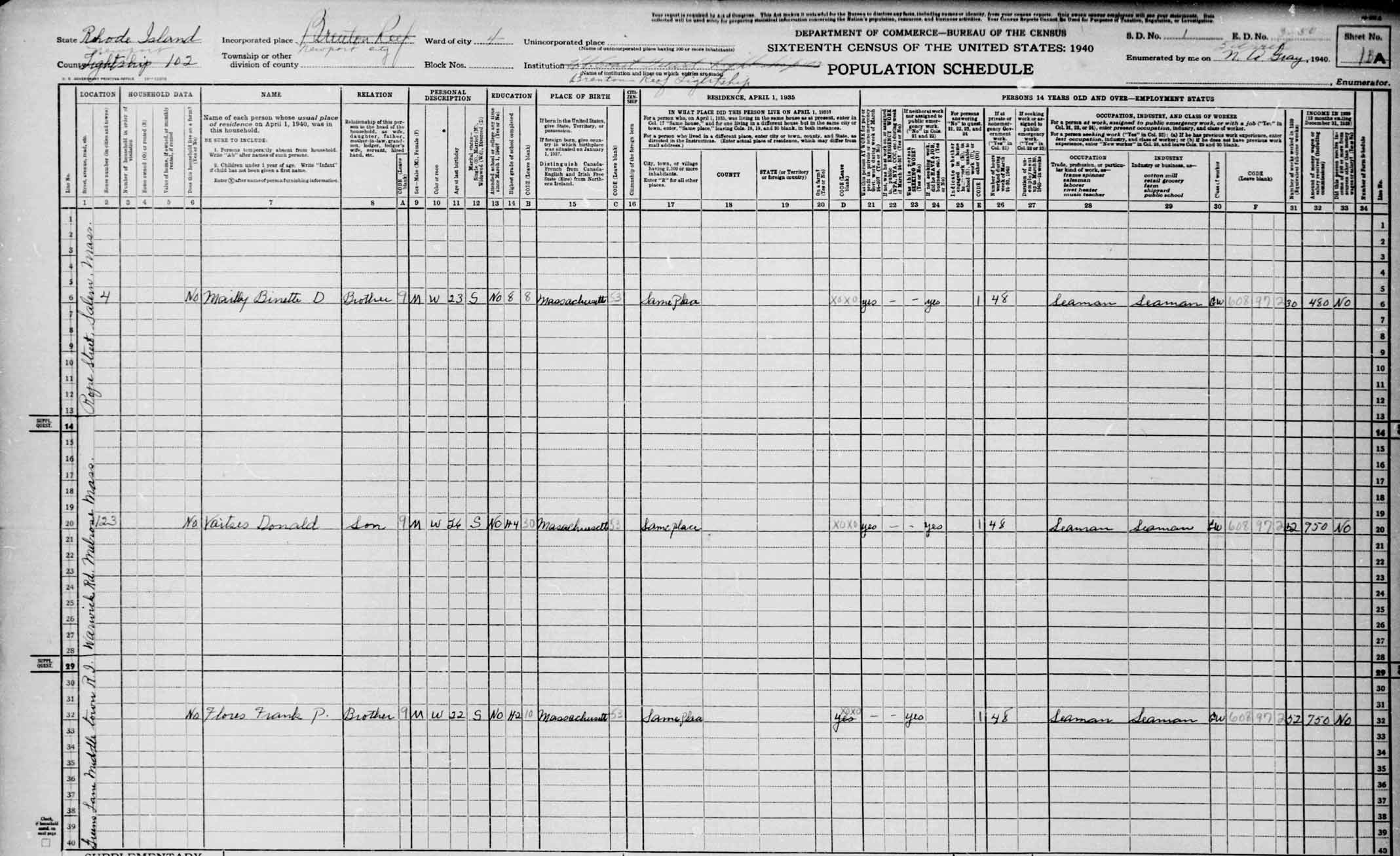 Brenton Reef Lightship 1940 Census
