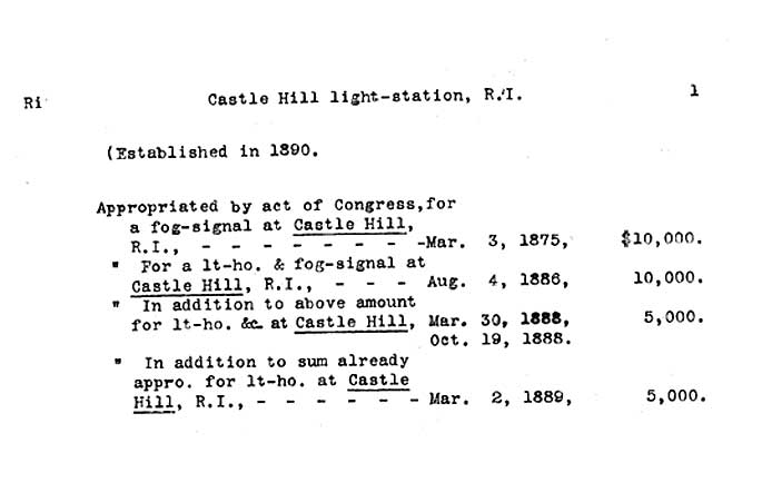 Castle Hill Light - Lighthouse Board Clipping Files-page 1