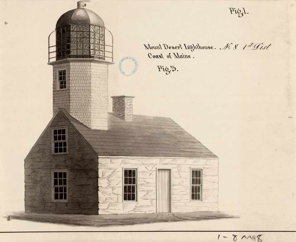 Drawing of 1829 Mount Desert Lighthouse