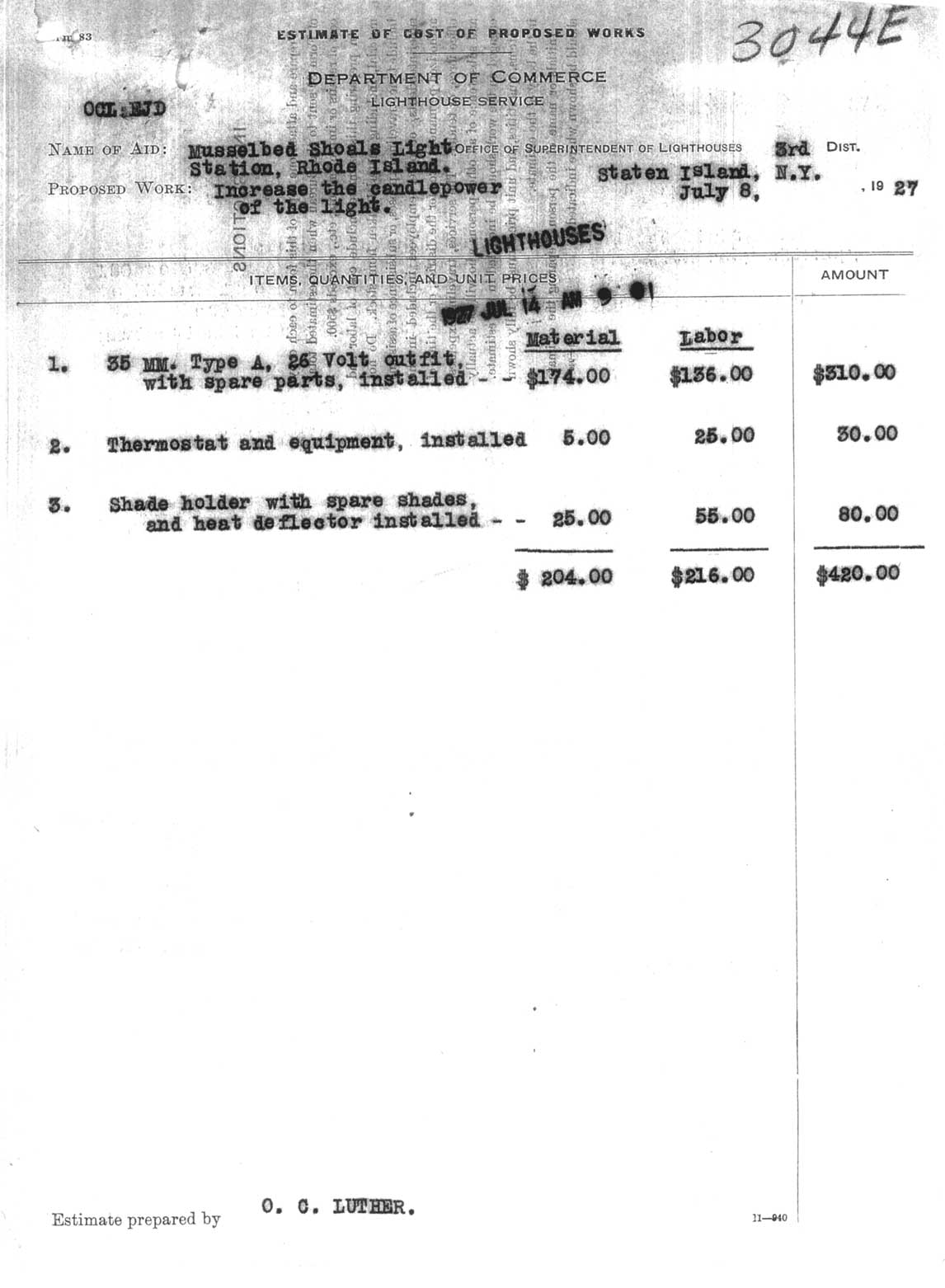 Estimate Of Cost Of Proposed Works at Musselbed Shoals Light