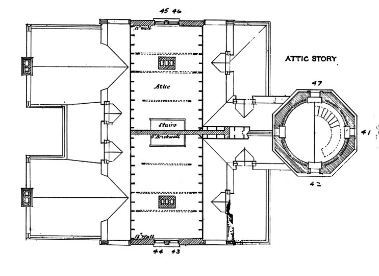 Plan for Attic Floor of Block Island Southeast Lighthouse