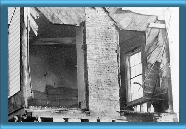 Interior of Bullock Point Lighthouse After the 1938 Hurricane