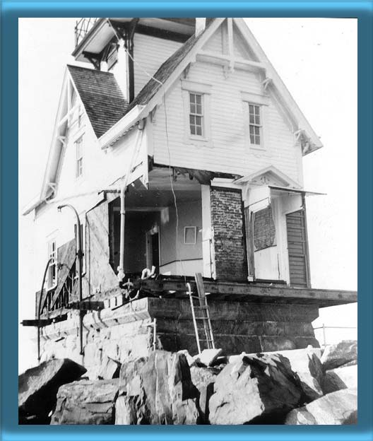 Bullock Point Lighthouse After the 1938 Hurricane