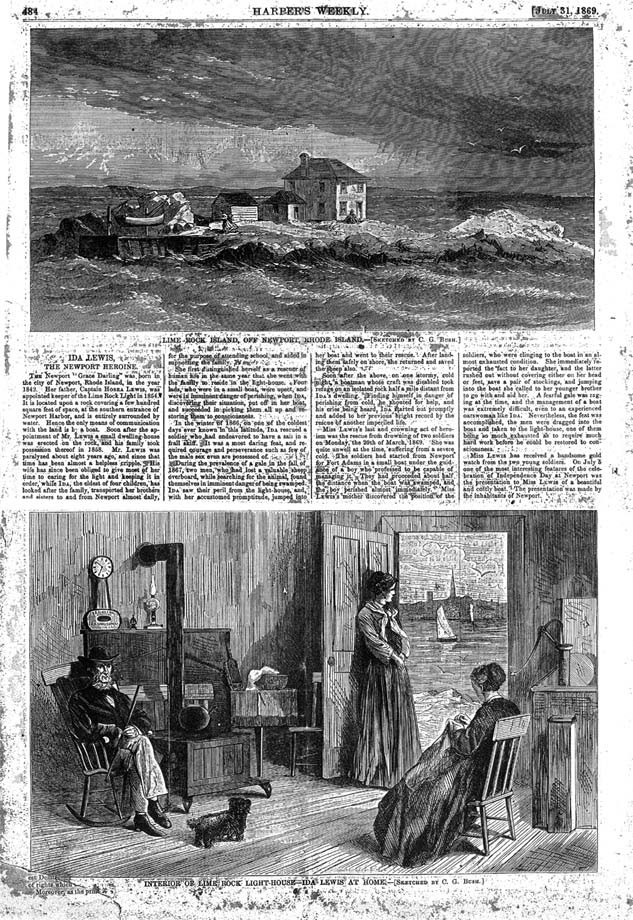 A drawing of Lime Rock Lighthouse and Ida Lewis from the July 31, 1869 edition of Harper's Weekly.